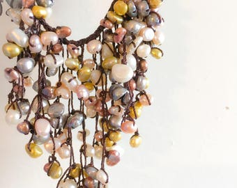 Multicolor Freshwater Pearl Necklace- Baroque Pearls- Rice Pearls- Statement Necklace