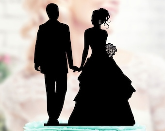 Wedding Cake Topper Silhouette Couple, Acrylic Cake Topper, Bride and Groom