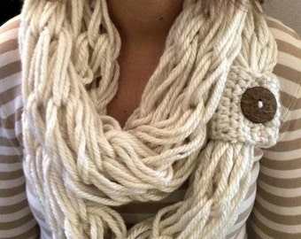 Chunky knit scarf  Boho Style, arm knitted , infinity, circular scarves, armknited cowl, Holiday Fashion, Cream,brown coconut button