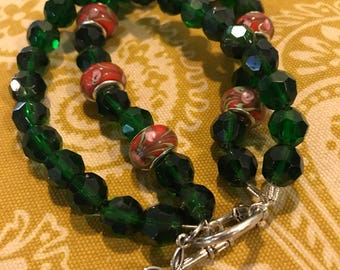 Red and green with cross charm beaded bracelet ALL proceeds benefit French Camp Academy