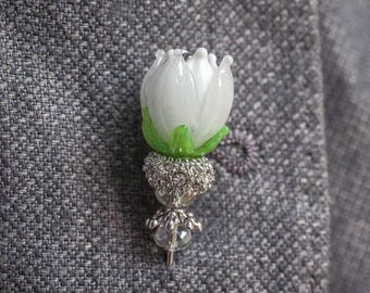 Brooch, Lapel pins - Grooms boutonniere -  tie pins - Flowers (White), gifts for him