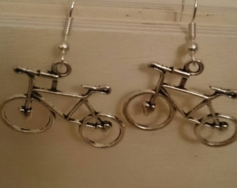 Vintage looking bicycle earrings with 925 stamped Silver hooks. Unique and quirky accessory!