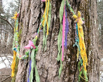 scarf fantasy luxury fiber art yarn braid lariat extra long garland scarf - flowers and streamers watercolor garland