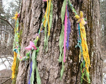 Fantasie Luxus Faser Kunst Garn Geflecht Lasso extra lange Girlande Schal - Blumen und Luftschlangen Aquarell Girlande