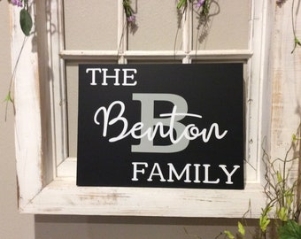 "Personalized Family Plaque , Monogram Wood Sign, Home Decor 12""x16""x.75"""