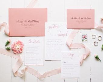 Modern Wedding Invitation Minimalist Script Romantic Dusty Rose Wedding Invite SAMPLE