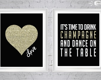 Drink Champagne and Gold Heart 8x10 PRINTABLES  - Perfect for Bachelorette Parties, Bridal Showers, New Years Parties and more!