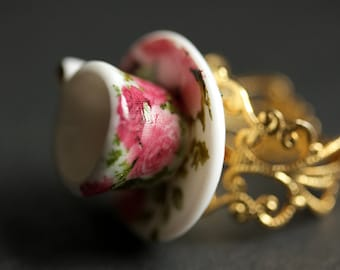 Bright Pink Roses Tea Cup Ring. Porcelain Teacup Ring. Miniature Teacup Ring. Pink Ring. Gold Filigree Adjustable Ring. Handmade Jewelry.