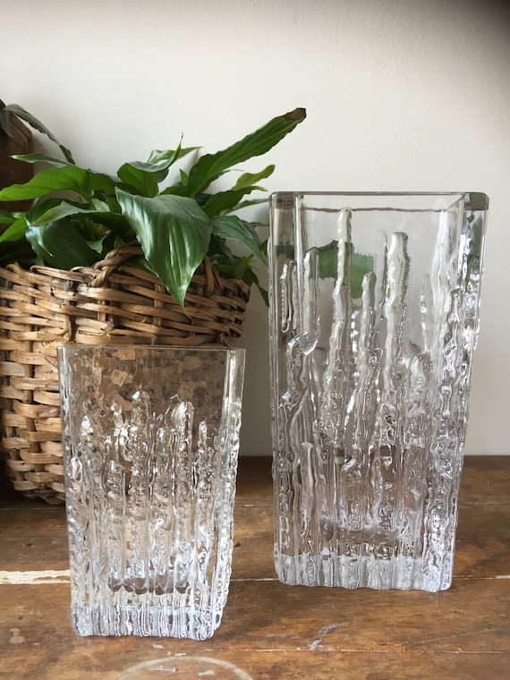 pair of Scandinavian/glass/vases/Mantorp/midcentury modern /modernist style /swedish glass/scandinavian