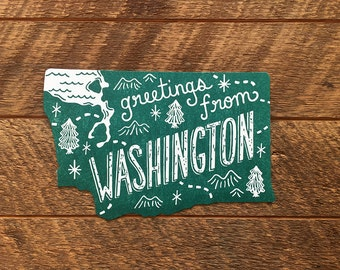 Washington Postcard, Greetings from Washington, Die Cut Letterpress State Postcard