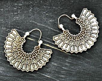 Tribal Silver Earrings, Tribal Fan Earrings, Bohemian Earrings, Large Earrings, Gypsy Earrings, Ethnic Earrings, Aztec Jewelry
