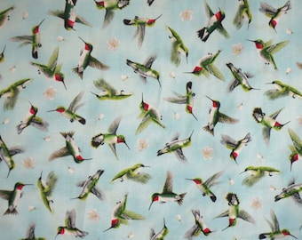 REMNANT--Sweet Little Hummingbirds on Aqua Print Pure Cotton Fabric--35 INCHES