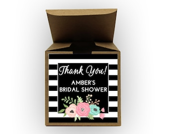 Floral Stripes Bridal Shower Favor Boxes in Black - Set of 12 Personalized Treat Containers with Stickers for Favors, Gifts - Kraft Boxes