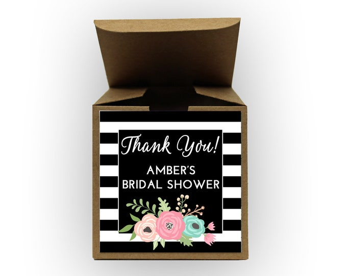Featured listing image: Floral Stripes Bridal Shower Favor Boxes in Black - Set of 12 Personalized Treat Containers with Stickers for Favors, Gifts - Kraft Boxes
