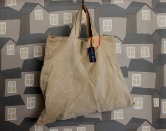 Beige Sued Tote Bag, Upcycled Leather Bag, Sued Tote Market Bag