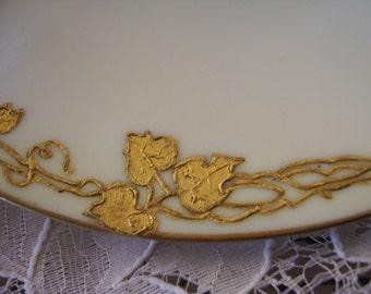 Antique Bavaria Karat Gold Leaf Design Dessert Plates-(3)
