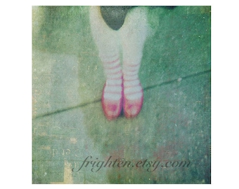Sparkly Red Shoes Whimsical Art 12 x 12 Inch Print, Fairytale Art, Holga Photography Green and Red Striped Socks Wall Decor