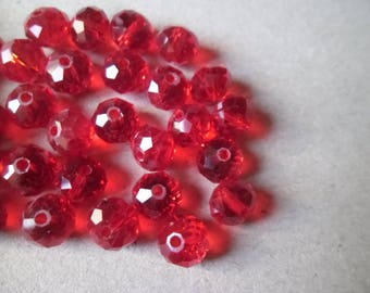 x 10 Red 8 mm faceted round Crystal beads