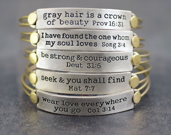 Bible Verse Bracelet, Inspirational Jewelry, Religious Gift, Christian Jewelry, Bible Jewelry, Message Bangle, Stackable, Graduation Gift