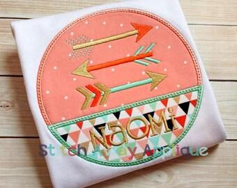Tribal Arrows Circle Patch Machine Applique Design