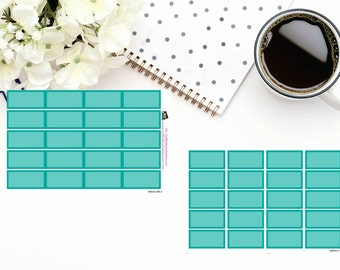 Planner Stickers|Box Stickers|Teal Blue Box Stickers| Hourly and Vertical Planners| For use in a variety of planners and journals|HB005