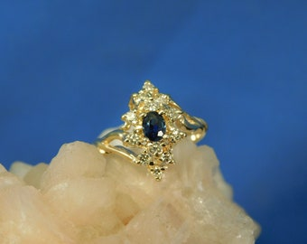 Custom .25 ct. Oval Teal Blue Sapphire and Diamond Cluster Ring Solid 14k Yellow Gold