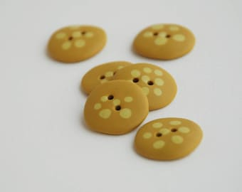 20 mm multicolored handmade Buttons with dots, Set of 6, Dandelion blossom