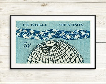 large science classroom poster, science wall art, vintage science wall decor, large blue posters, US postage stamps, science art prints, art
