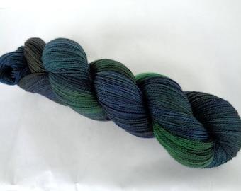 Merino lace yarn, hand painted merino yarn, hand dyed yarn, superwash, weaving yarn, GELTWATER FOREST, 3.5oz/700yds, 100g/630m, 100% wool