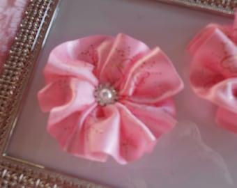 "Handmade 3"" wide pink hearts satin bow sash headbands hair styles photo op birthday"