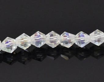 clear 4 mm faceted bicone glass beads 20