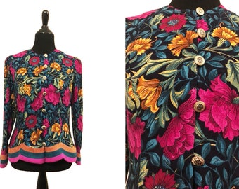 Lady Carol of New York | Vintage 1980's Multi-color, Floral, Long Sleeved  Button Up Blouse / 3 Stripes At the Bottom