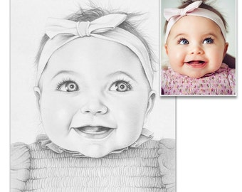 Custom Portrait Pencil Sketch from Photo, Custom Pencil Portrait, Custom Portrait, Baby Portrait, Custom Baby Gift, Baby Photo, From Photo