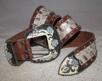 Vintage Brown Leather Belt w/ Silver tone Studs & Irridescent Rhinestones by Cache, Size Medium, western cowgirl