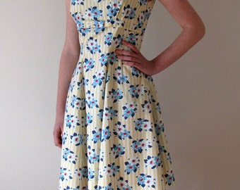 1950s vintage-style floral and stripe sun dress
