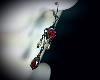 Blood Red Rose Black Chandelier Earrings, Gothic Victorian, Crimson Ivory Pearl Steampunk Edwardian Bridal Drops, Titanic Temptations 17024