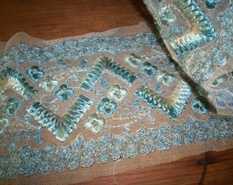 Breathtaking antique trim in robins egg blue colors and gold metal embroidery