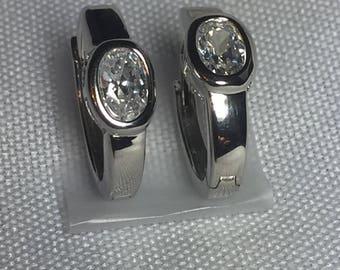 Cubic Zirconia Oval Shape Huggie Earrings - CZ Hoop Earrings  - Oval 3/4 Carat CZ Earrings - Bridesmaid Earrings - Bridal Earrings