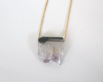 Amethyst geode necklace on gold plated chain