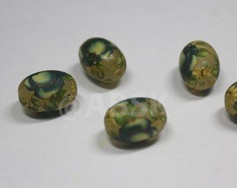 4 pieces of 14mm by 10mm Oval Japanese TENSHA Beads Blue Rose on Matt surface (TS1)