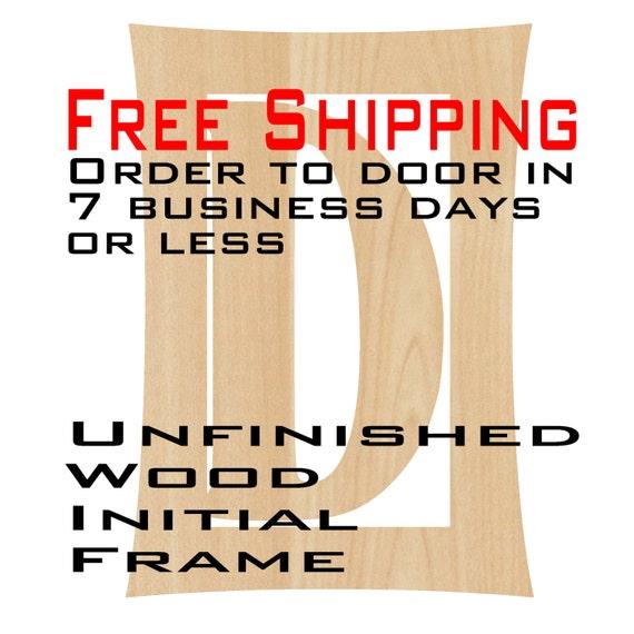 Unfinished Wood Doug Frame Monogram, Name, Word, Custom, laser cut wood, wooden cut out, Nursery, Personalized, DIY