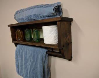 Bathroom towel bar rack Shelf, mission style, Country House, Farmhouse knick knack Shelf, wall mounted, toilet paper holder, bath towel