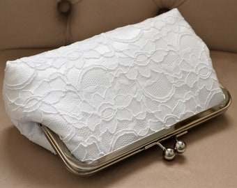 Bridal Silk And Lace Clutch,Bridal Accessories,Wedding Clutch,Bridal Clutch-Bridesmaid Clutches