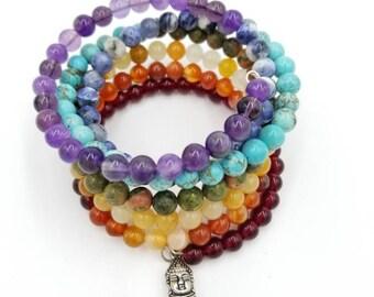 Chakra Balancing Wire Wrap Healing Gemstone Bracelet