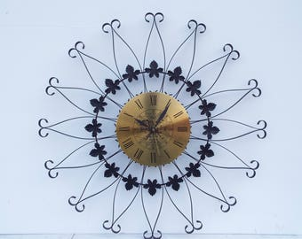 Vintage Retro Mid Century Starburst Wrought Iron Seth Thomas Wall Clock