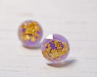 Purple and Gold Flake 12mm Stud Earrings, Simple Minimal Jewelry, Purple Plastic Studs, Checkerboard Cut Posts, Lavender