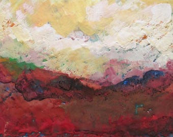Encaustic painting, abstract landscape painting, abstract encaustic, mountain painting