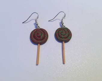 Polymer clay lollipop red green earrings