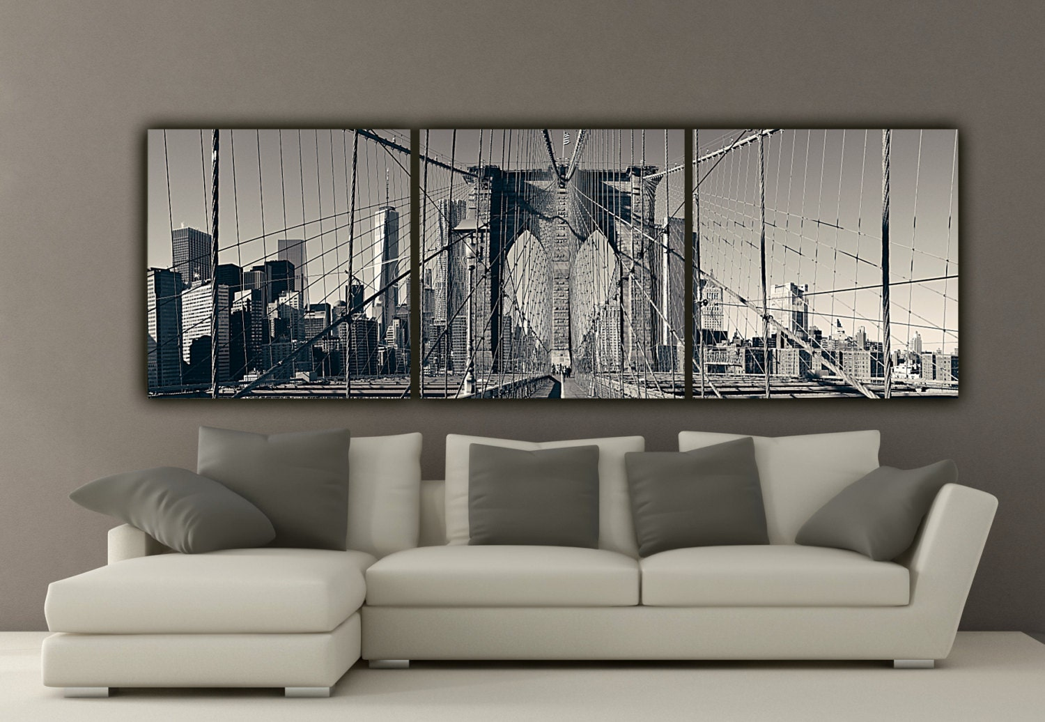 Large Wall Art New York Brooklyn Bridge Canvas Wall Art Black And White New