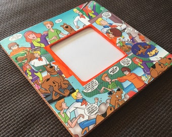 """Scooby Doo inspired Comic Themed Square Decoupage Picture Frame (3.7""""X3.7"""")"""
